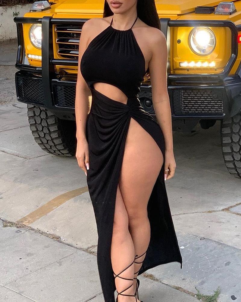 boutiquefeel / Vestido de noche de corte alto con cuello halter y fruncido