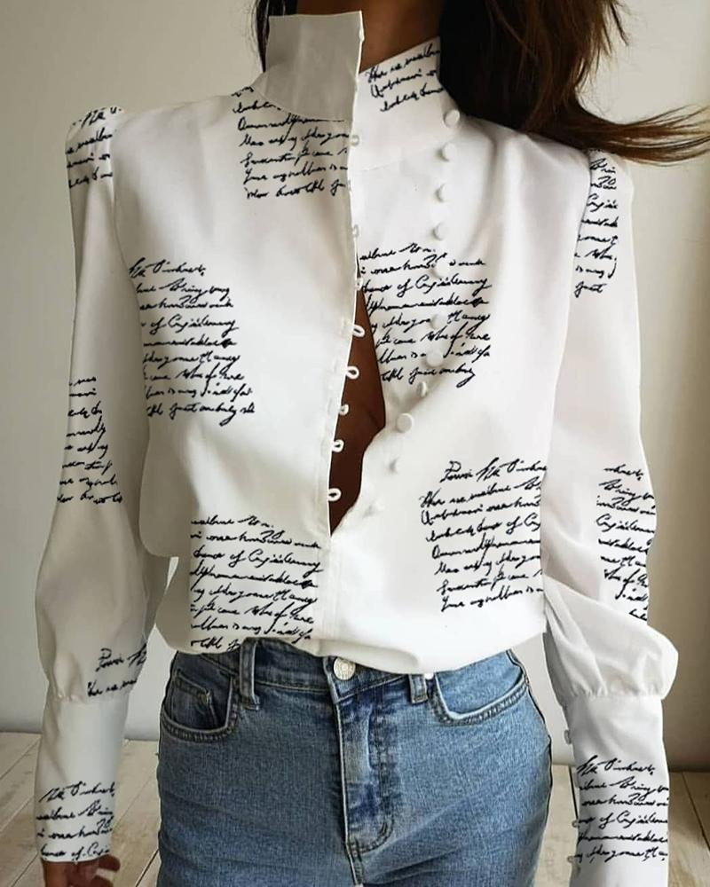 Stand Neck Letter Print Buttoned Shirt фото