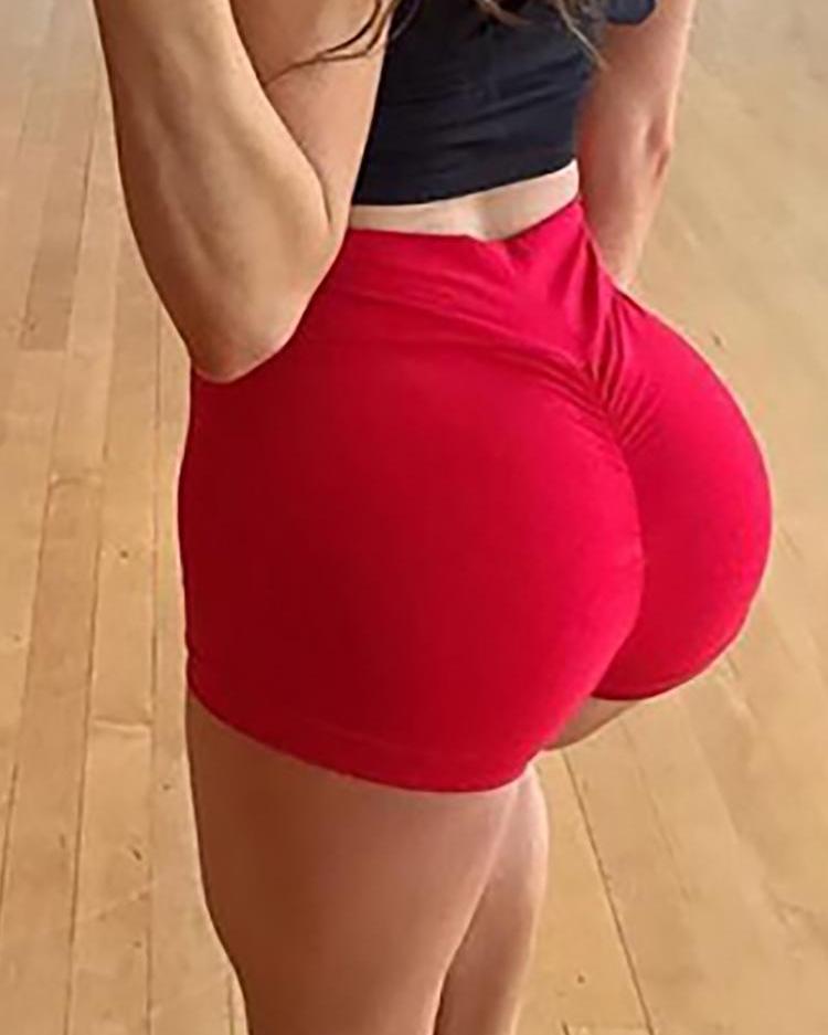 Solid Ruched High Waist Yoga Shorts Leggings фото