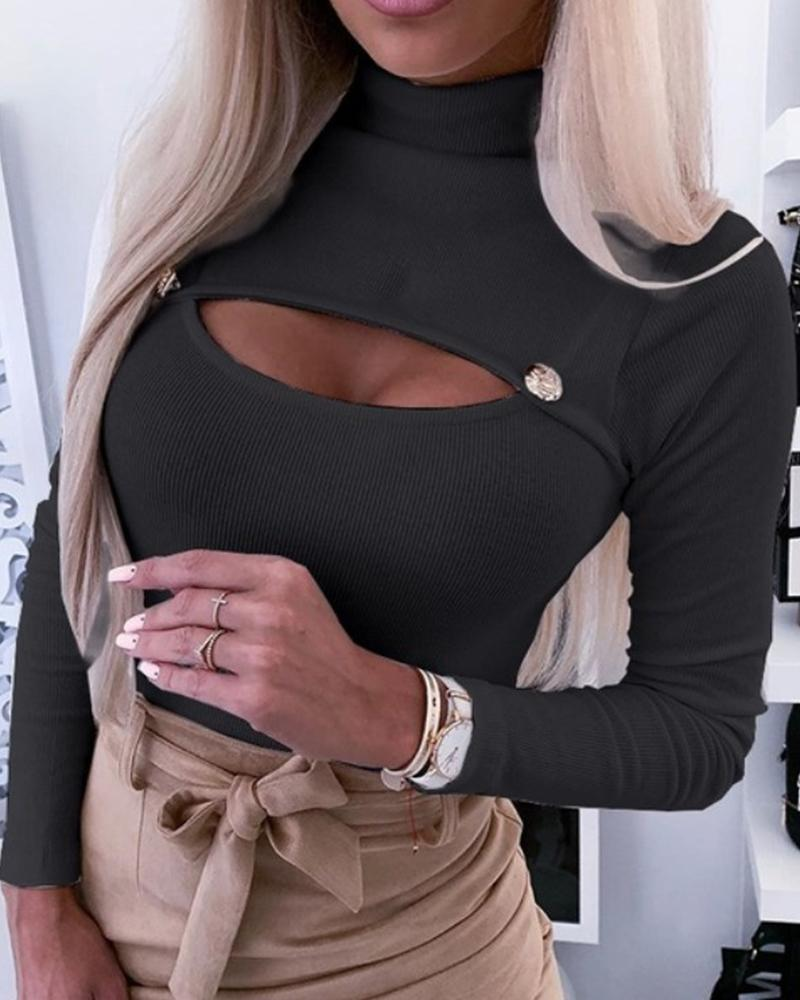 High Neck Open Chest Rib Top фото