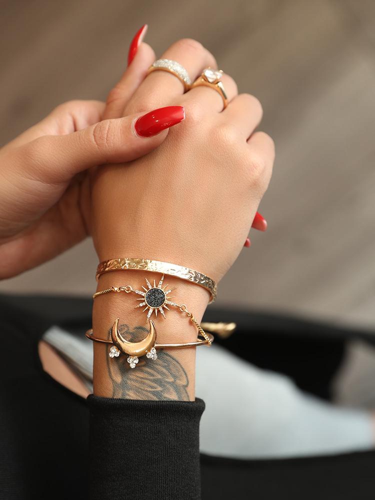 Fashion Shiny Sun And Moon Layered Bracelets