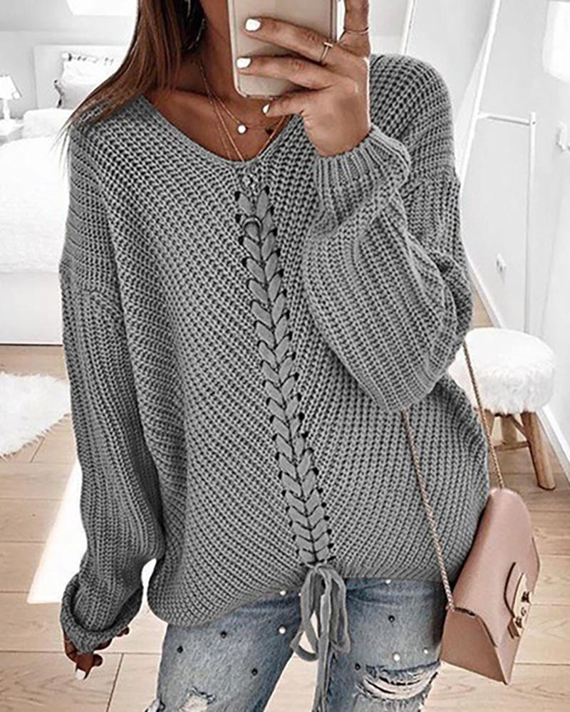 Eyelet Lace-up Knitted Sweater фото