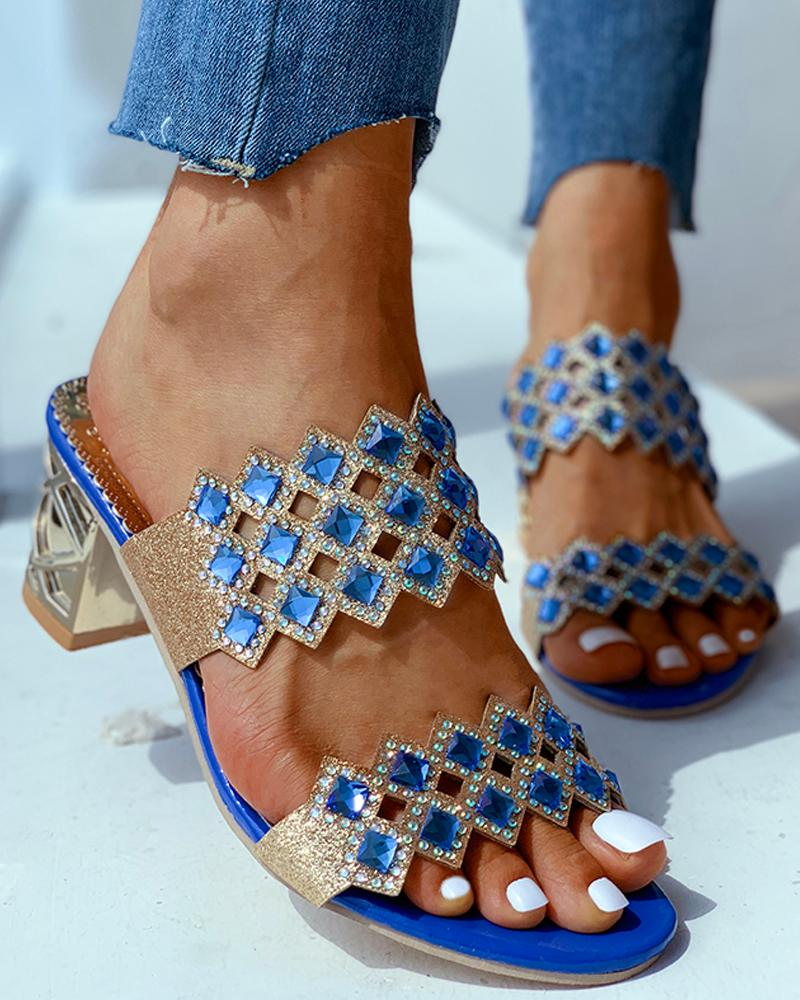 Open Toe Studded Heeled Sandals фото