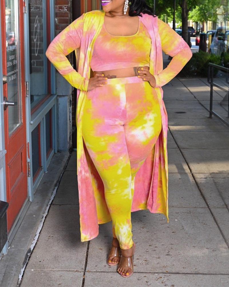 Image of Plus Size Tie Dye Crop Tank Top & Pants With Longline Cardigan Set