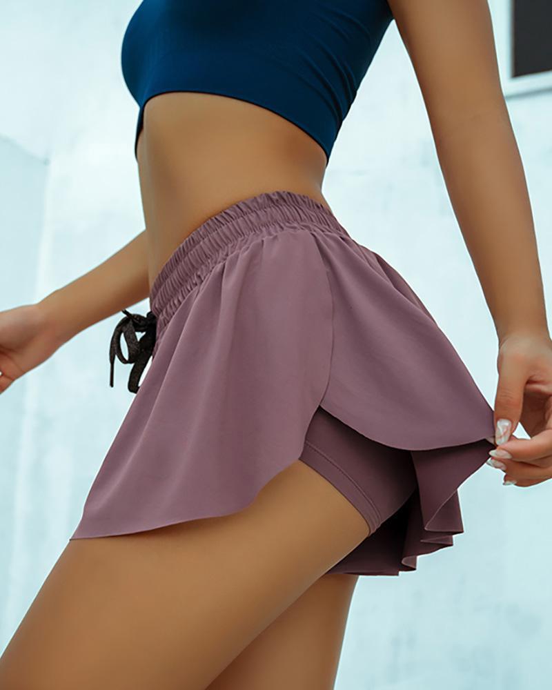 Drawstring Culotte Design Casual Shorts фото