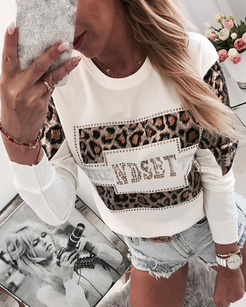 Leopard Print Rhinestone Embellished Detail Sweatshirt фото