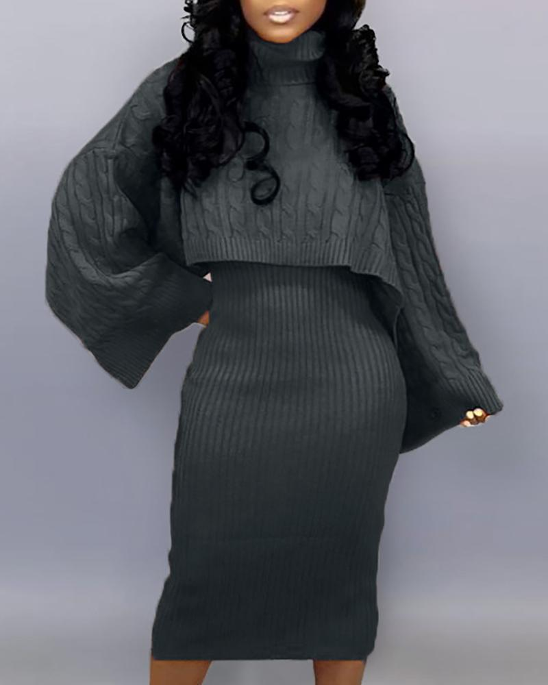 Solid High Neck Ribbed Sweater & Thin Strap Dress Sets, Dark grey