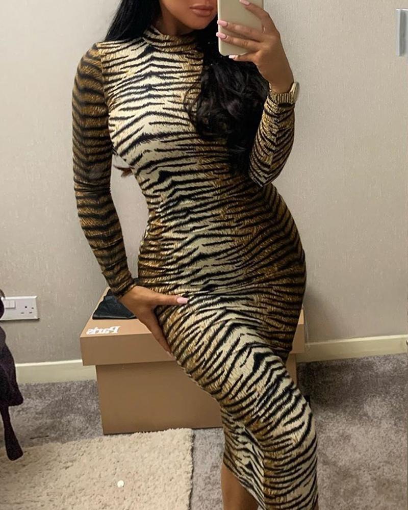 Animal Print Long Sleeve Dress фото