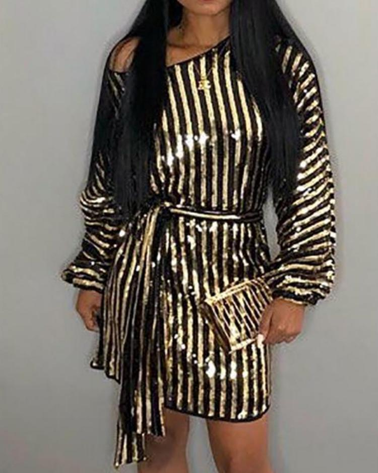 Stripes Long Sleeve Belted Sequin Party Dress