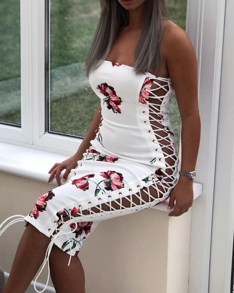 Floral Lace-Up Side Strapless Bodycon Dress фото