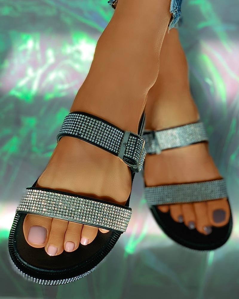 Rhinestone Buckled Open Toe Flat Sandals фото
