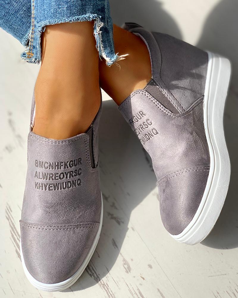 Suede Letter Pattern Casual Sneakers, Dark grey