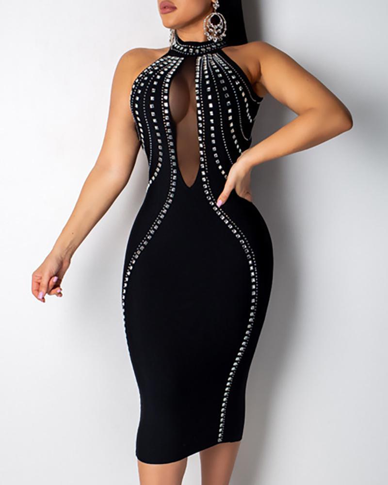 chicme / Studded Backless Mesh Insert Sleeveless Midi Dress