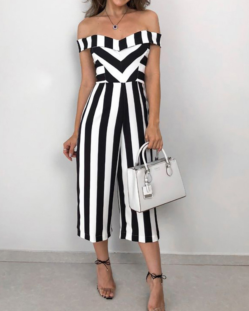 Sweetheart Neck Striped Casual Jumpsuit