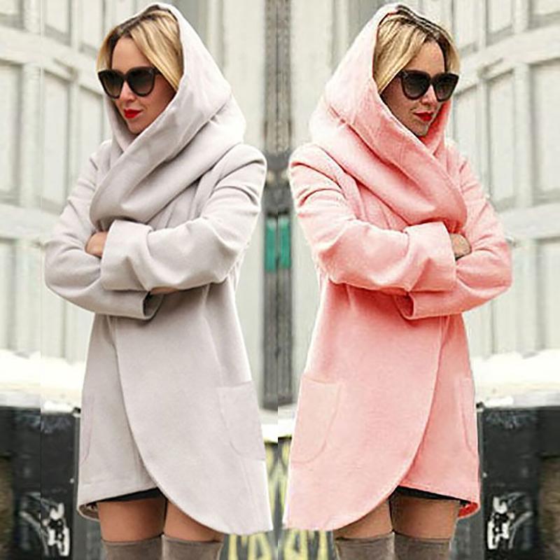 Autumn Long Sleeve Pocket Design Straight Hooded Coat