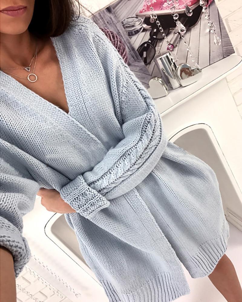 Long Sleeve Braided Pocket Design Cardigan фото