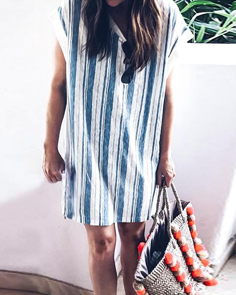 Short Sleeve Striped Print Loose Dress фото