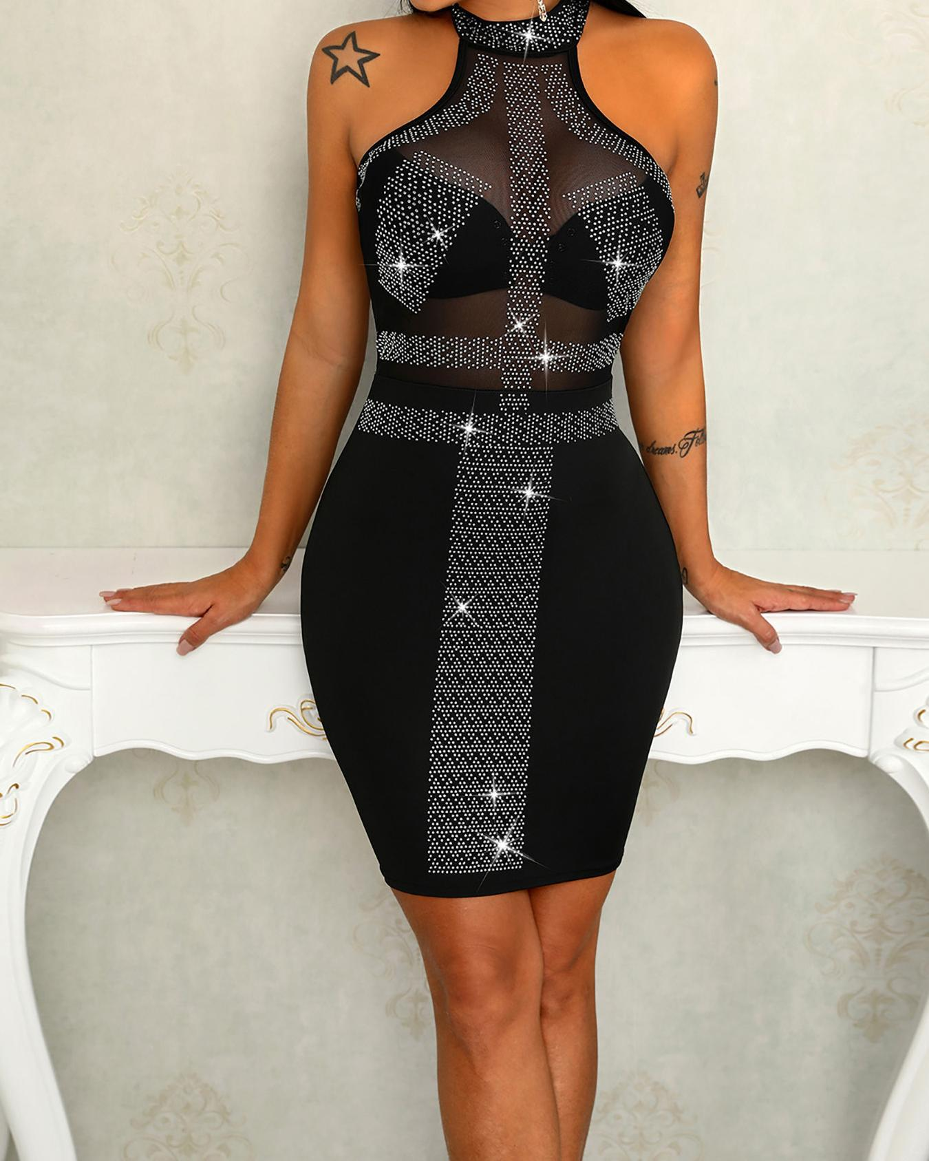See Through Hot Stamping Halter Bodycon Dress, Silver