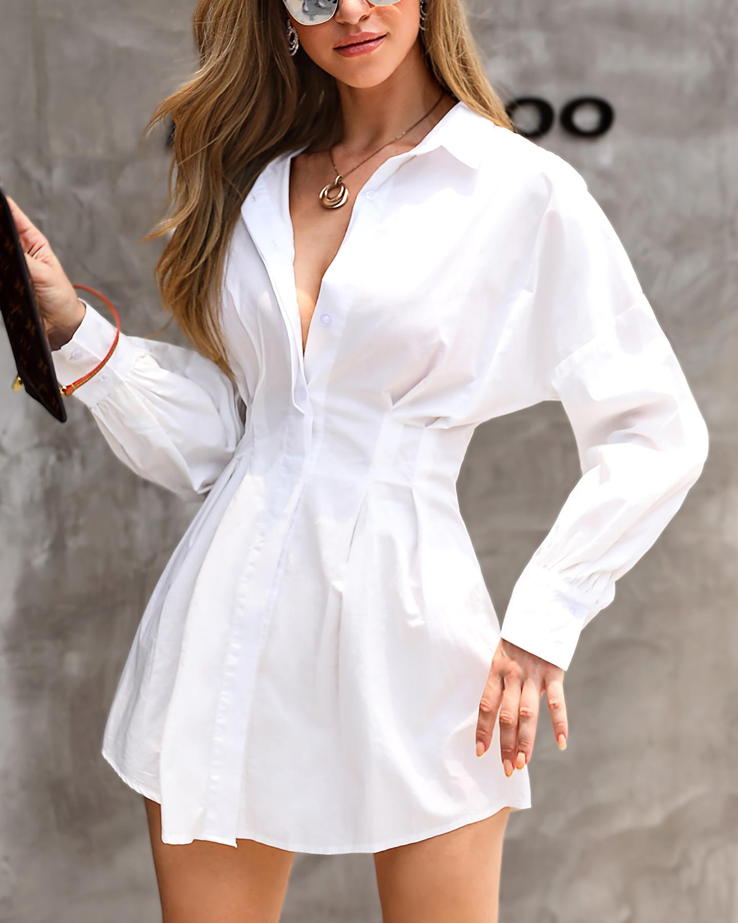 Solid Long Sleeve Tight Waist Shirt Dress фото