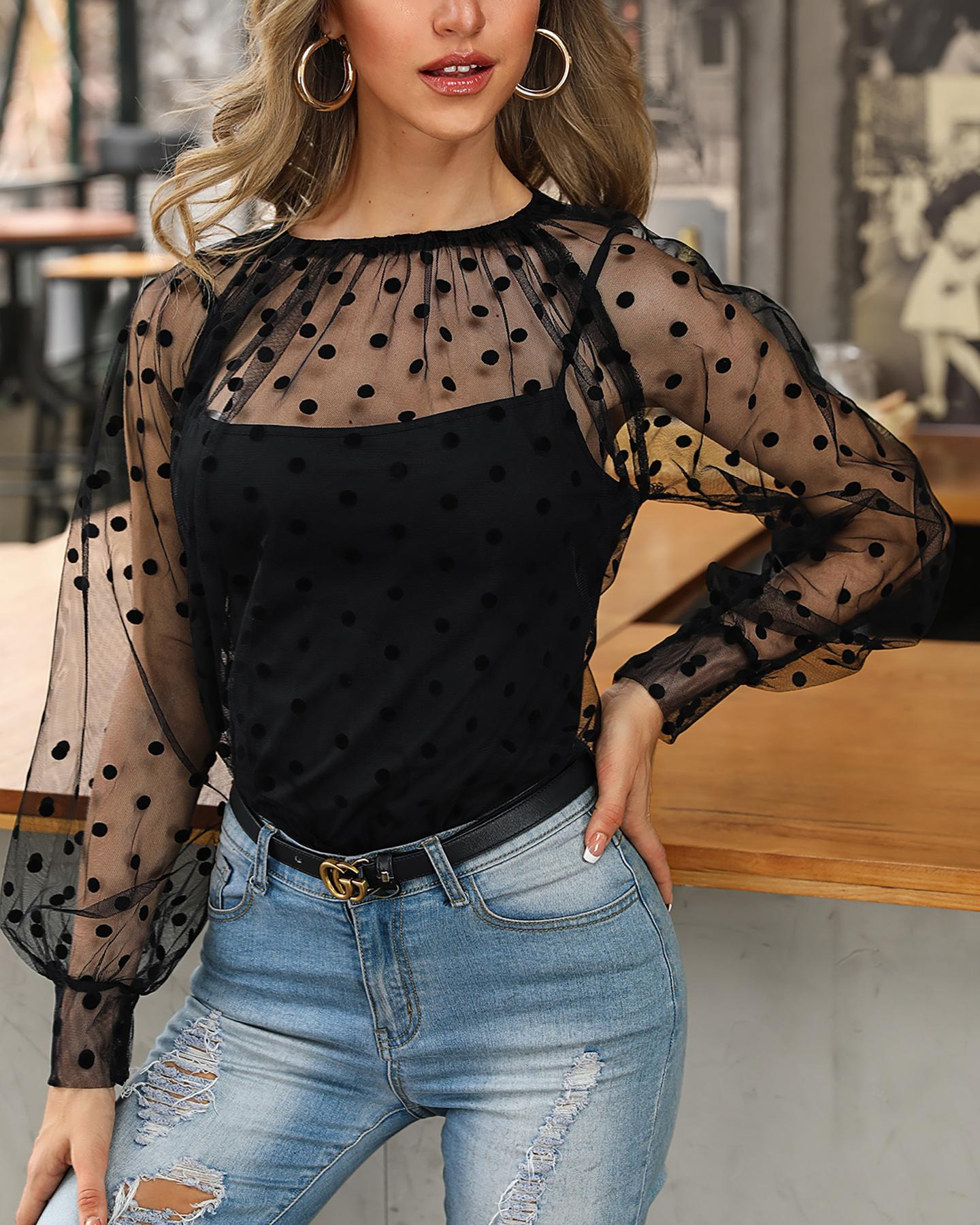 Dot Sheer Mesh Casual Blouse With Lining
