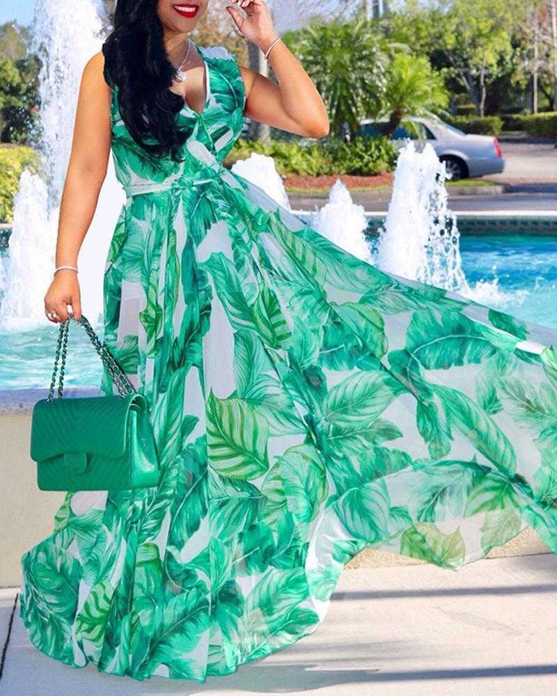 Floral Print Mesh Sleeveless Maxi Dress фото