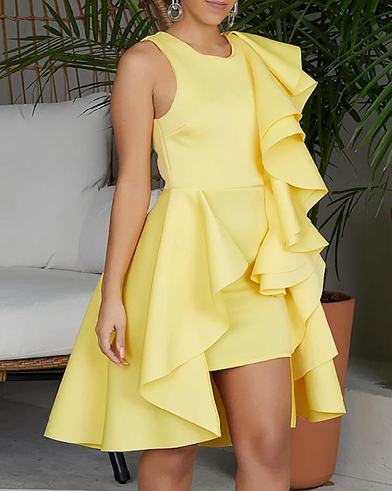 Solid Irregular Layered Ruffles Party Dress, Yellow