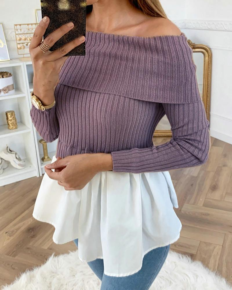 Off Shoulder Ribbed Long Sleeve Colorblock Insert Ruffles Blouse, Purple