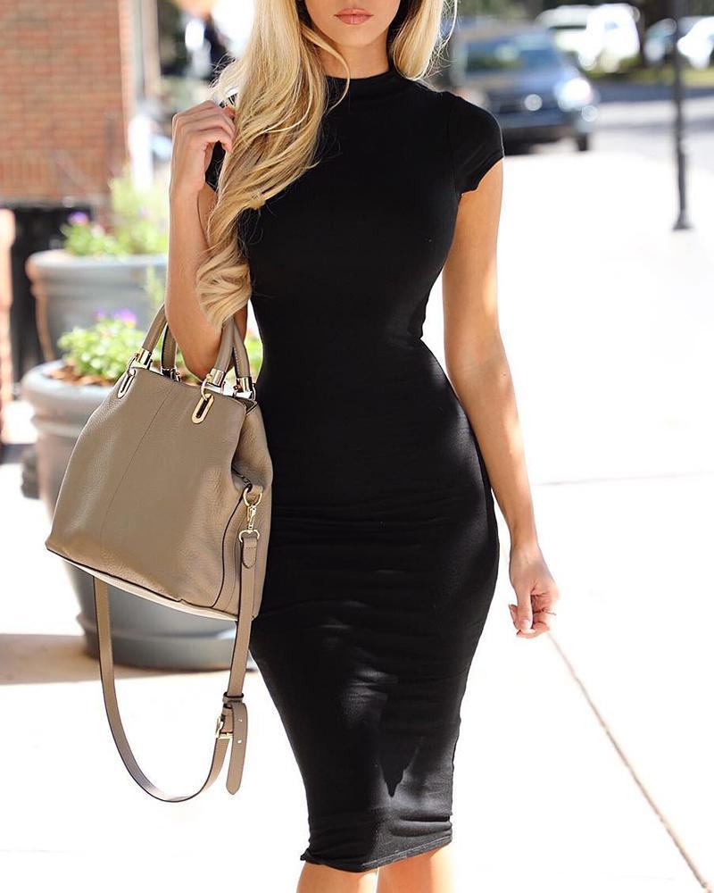 Solid Short Sleeve Bodycon Dress фото