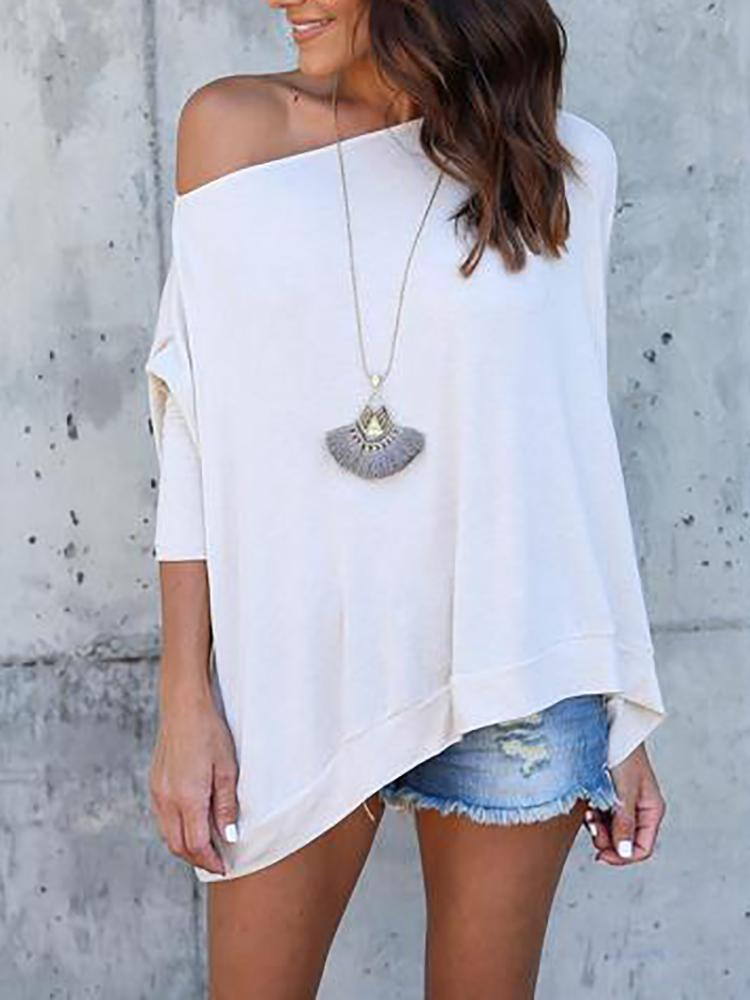Asymmetric Solid Skew Neck Casual Blouse - White
