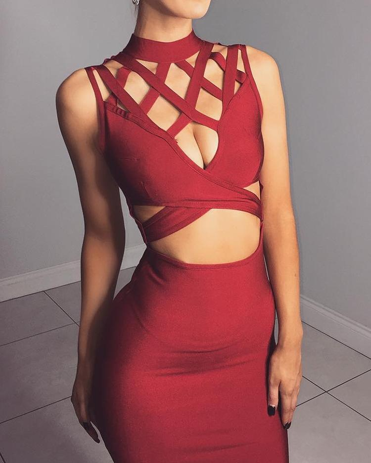 Sexy Cut Out Crisscross Cocktail Party Bodycon Dress фото