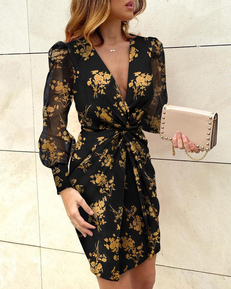 chicme / Vestido trenzado con estampado floral y manga hinchada