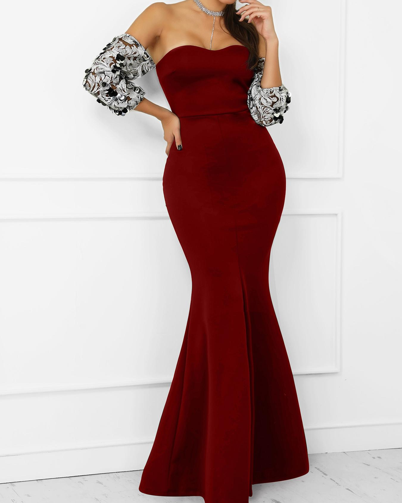 Embroidery Bardot Fishtail Evening Dress