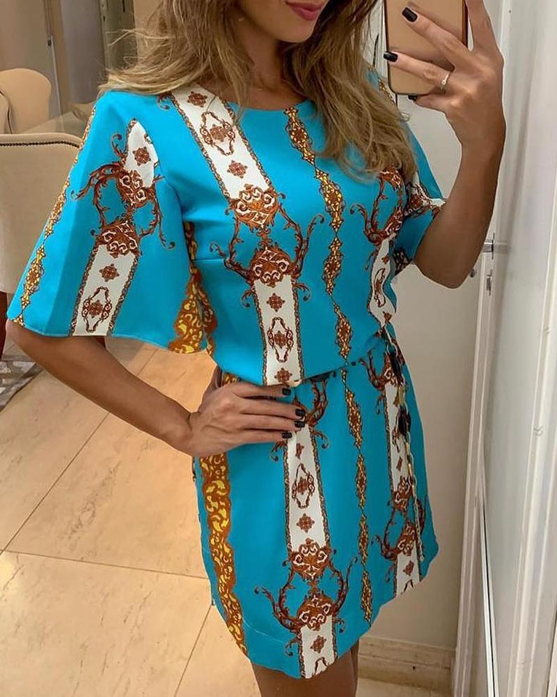 Short Sleeve Totem Print Bodycon Dress