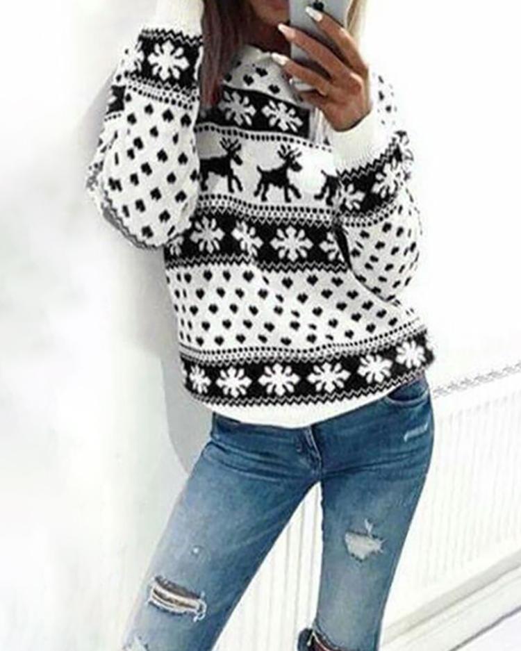 Fashion Christmas Deer Print Casual Sweatshirt фото