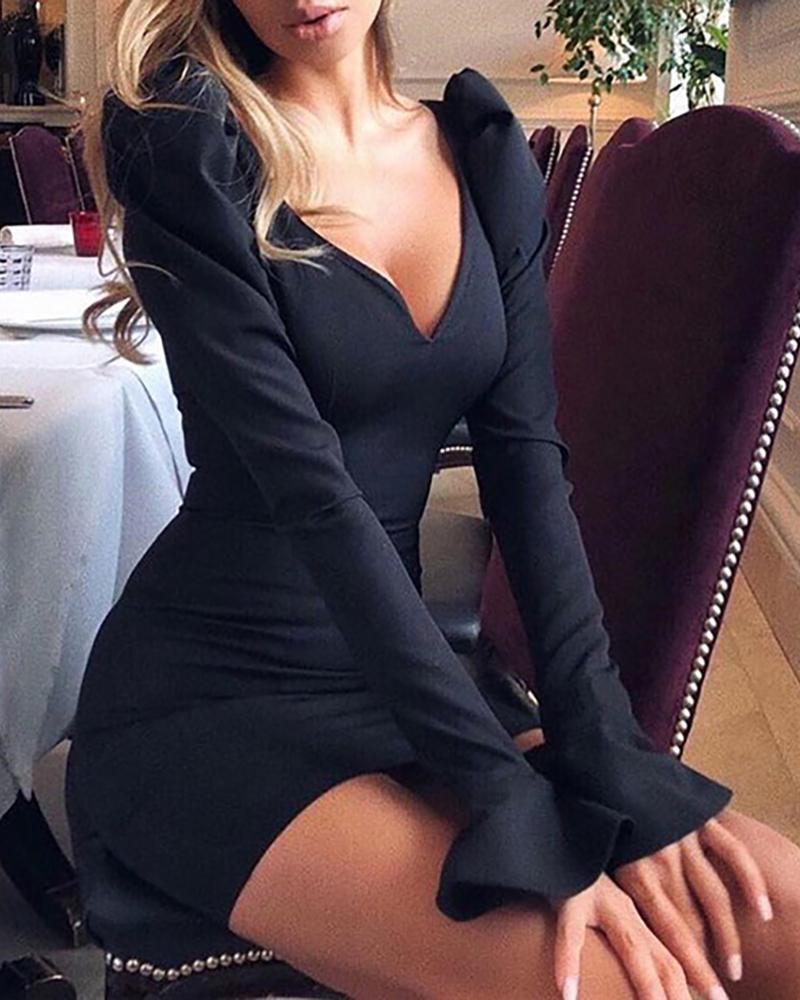 ivrose / V Neck manguito vestido de sino