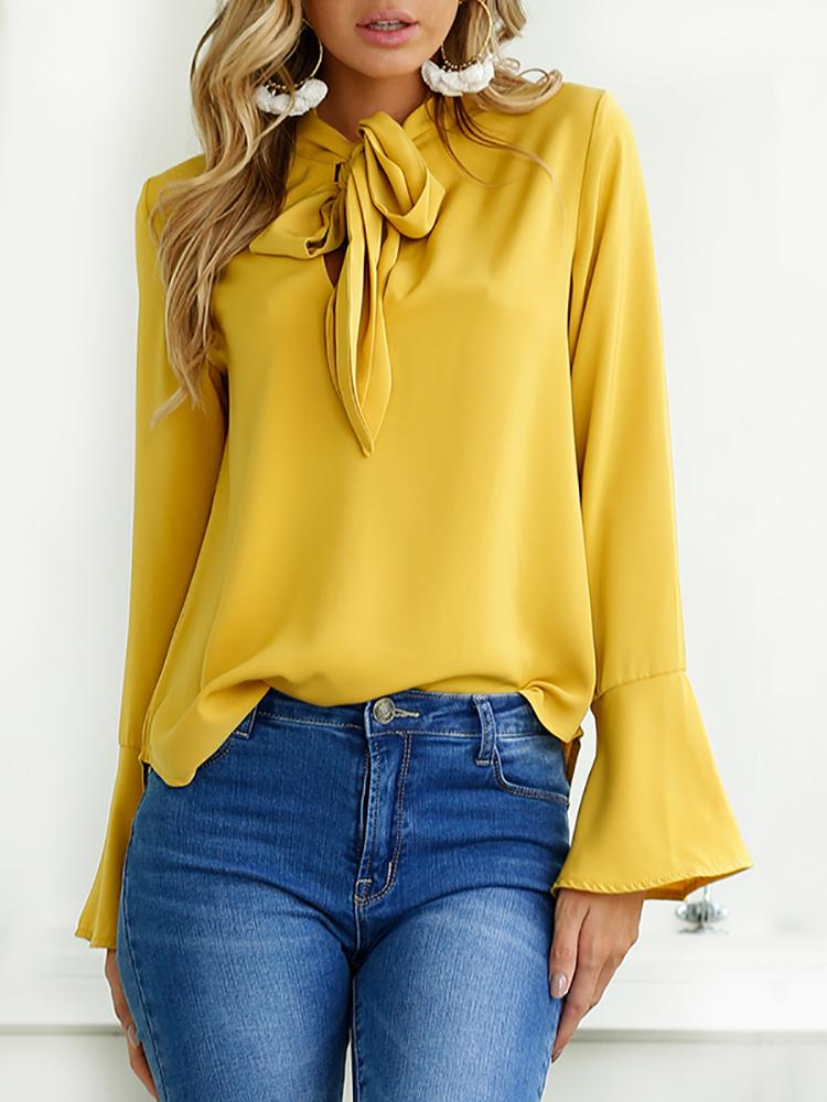 Curve Hem Tied Front Flare Sleeve Blouse - Yellow
