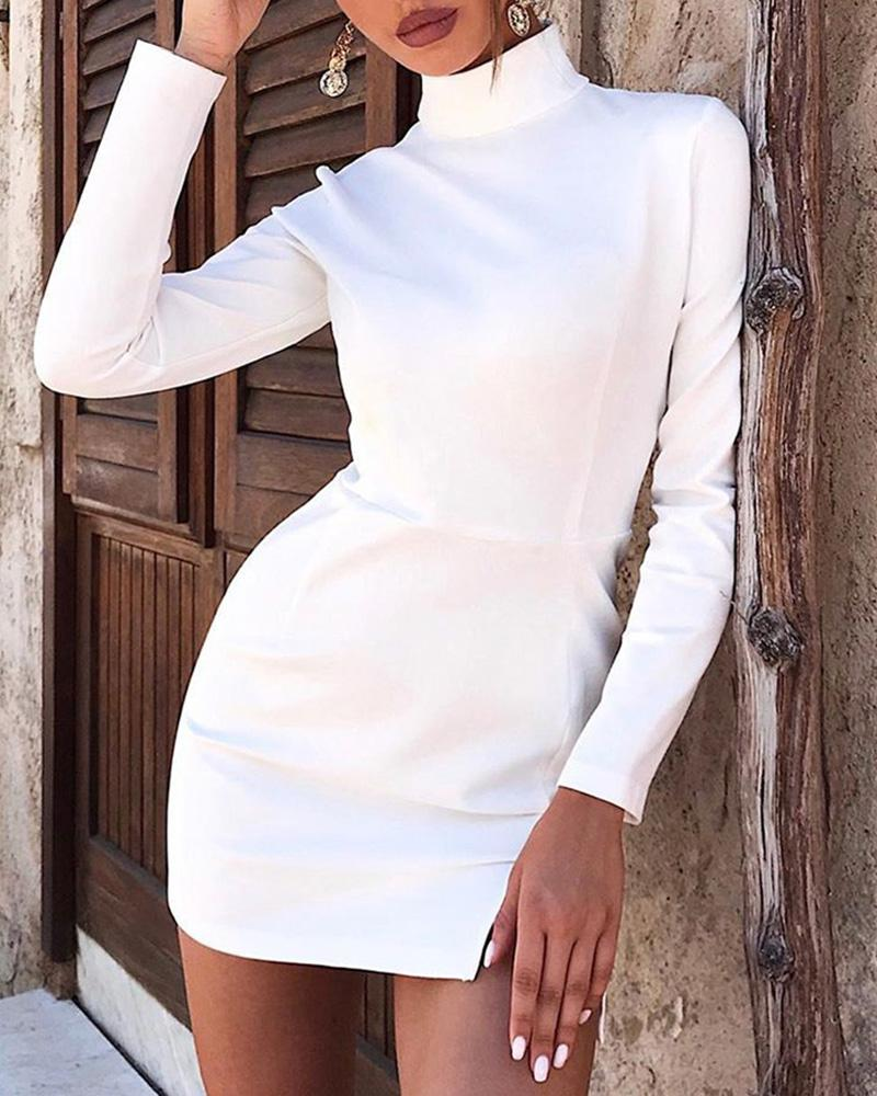 High Neck Long Sleeve Slit Dress, White