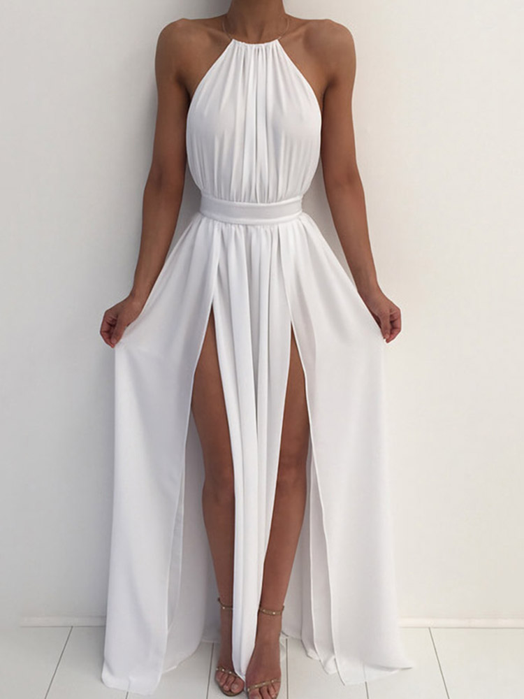 Backless Ruched Halter Maxi Dress