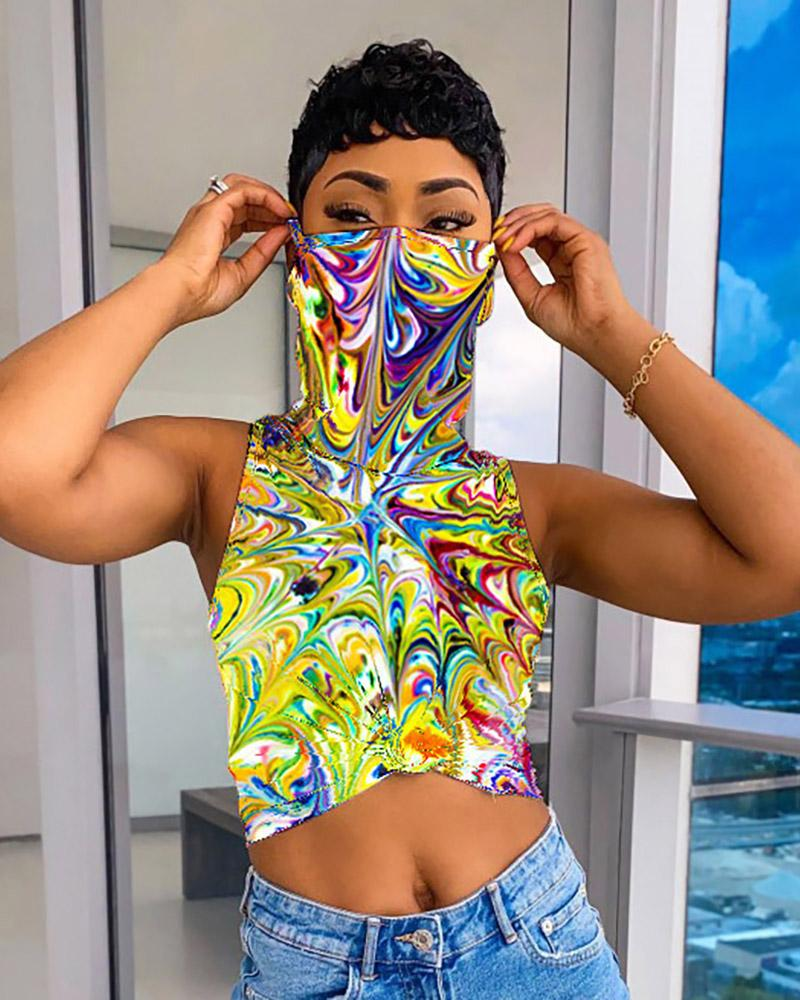 Tie Dye Print Sleeveless Top With Bandana фото