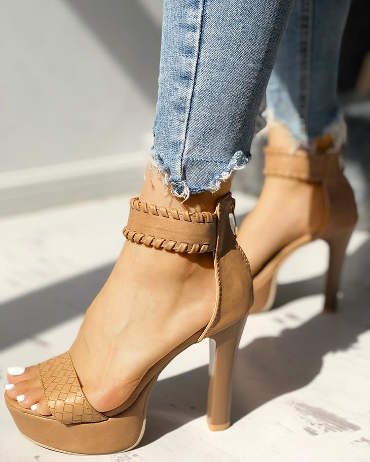 boutiquefeel / Elegante correa de punto abierto plataforma de dedo del pie de tacón sandalias