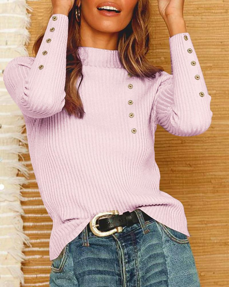 Solid Eyelet Hollow Out Long Sleeve Sweater фото