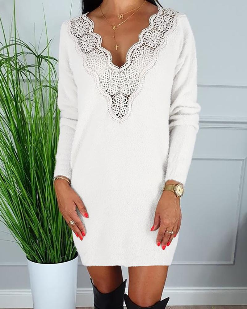 V-Neck Hollow Out Lace Insert Long Sleeve Bodycon Dress фото