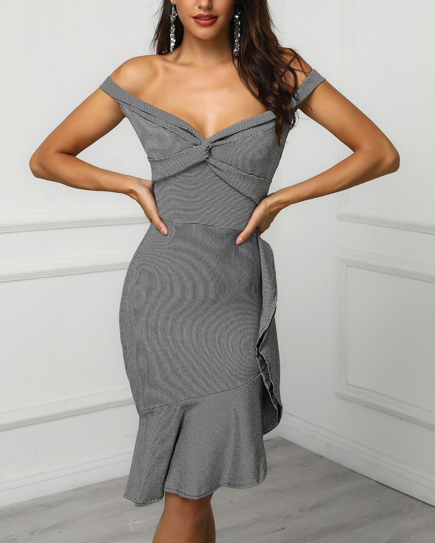 Off Shoulder Twist Front Striped Ruffles Design Dress