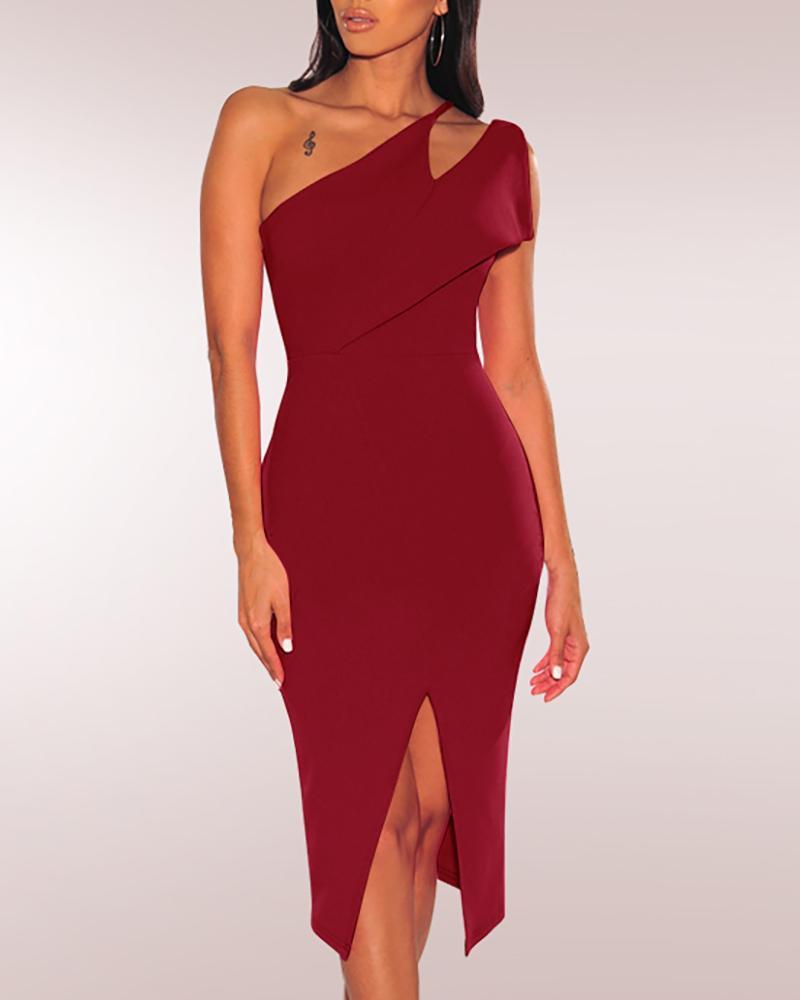 One Shoulder Slit Bodycon Dress, Wine red
