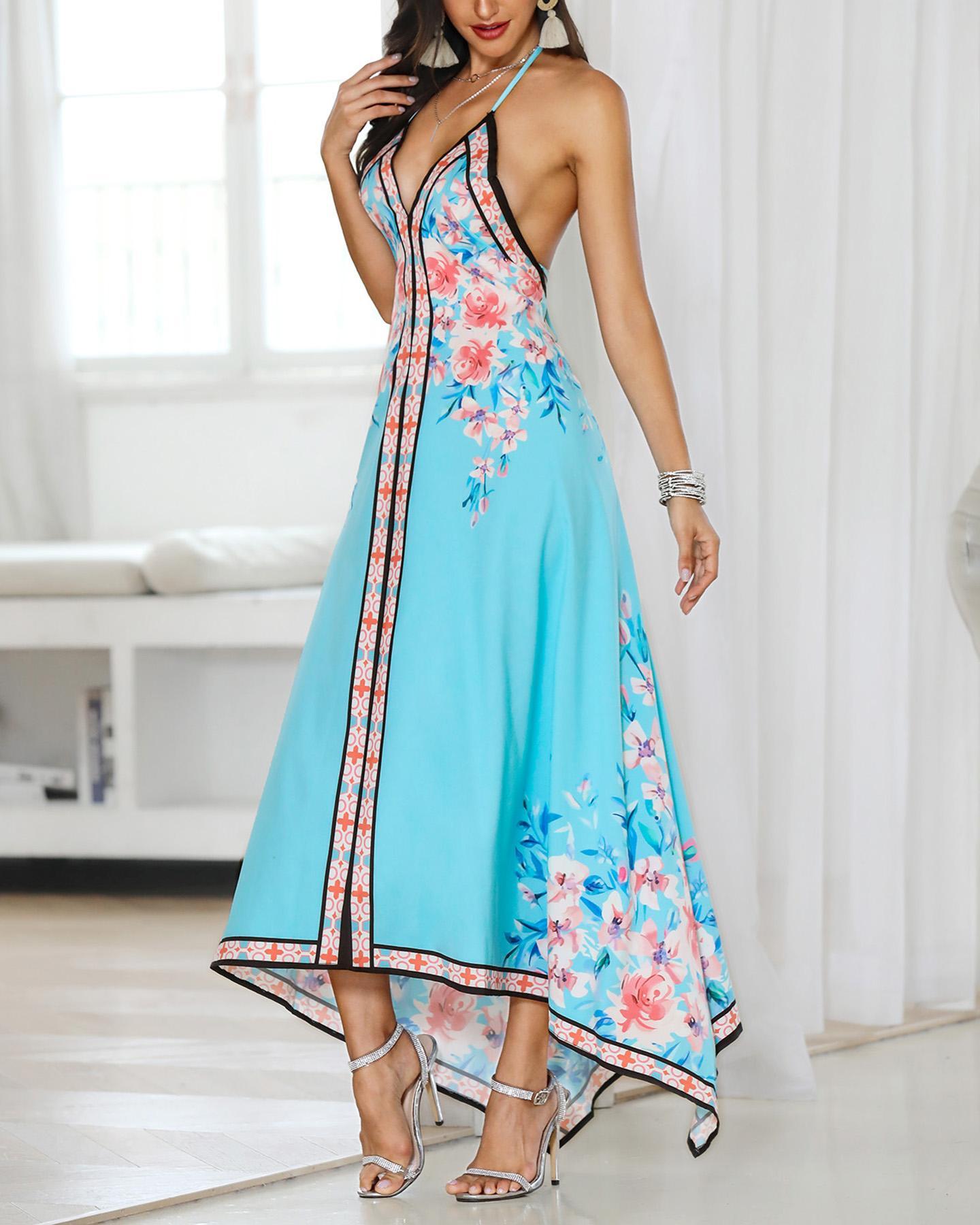 Floral Print Halter Backless Irregular Maxi Dress