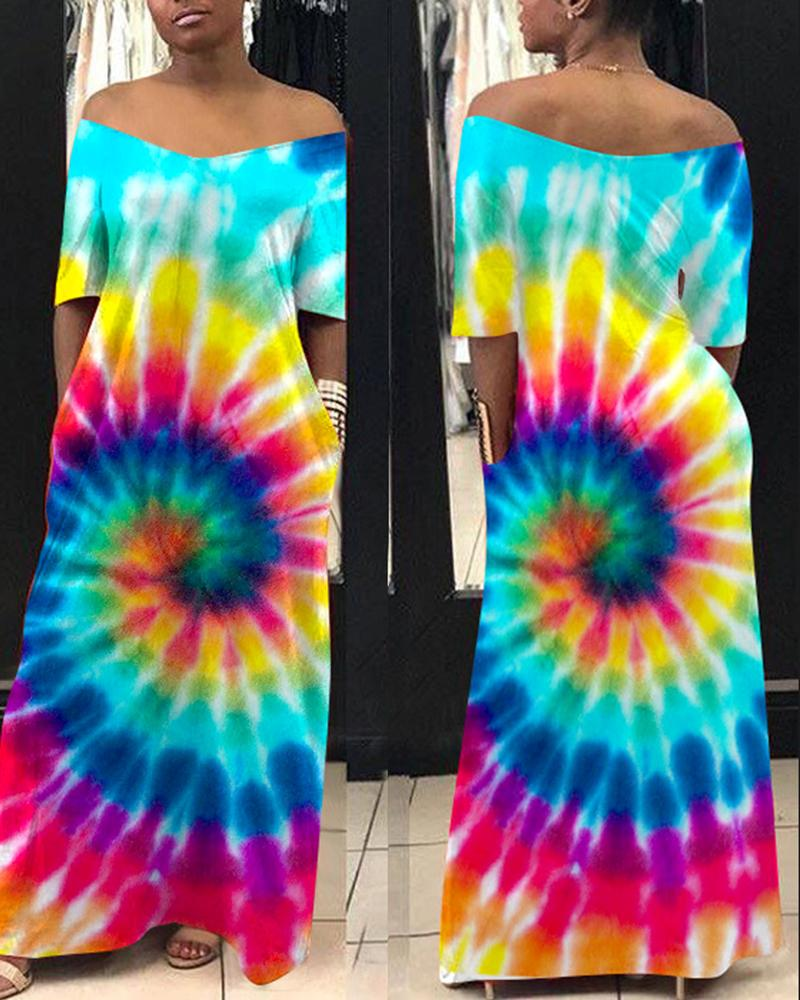 boutiquefeel / Colorido Tie Dye Imprimir manga curta Maxi Dress