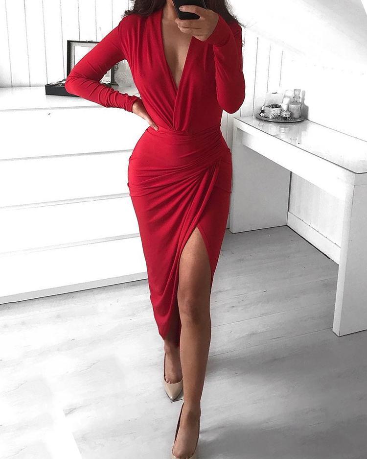 chicme / Vestido de fiesta irregular de manga larga con pliegues irregulares