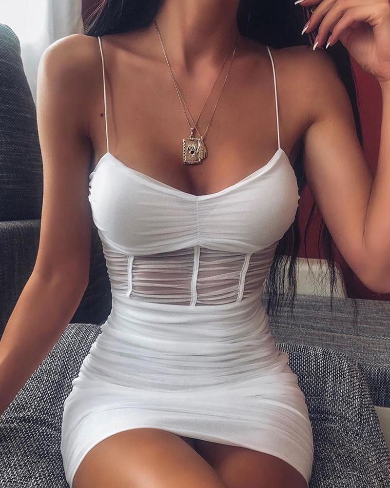 chicme / Vestido Cami de Malha Transparente