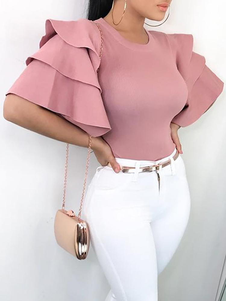 Roundneck Ruffle Sleeve Blouses Casual Tops