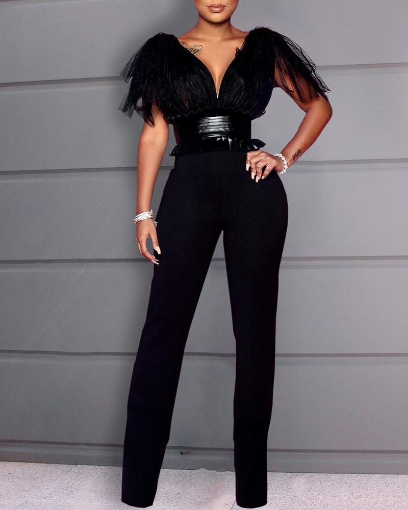 Patchwork Mesh Tight Waist Backless Jumpsuit фото